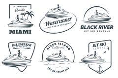 Insieme del logo, dei distintivi e degli emblemi locativi di Jet Ski Immagini Stock