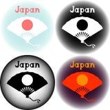 Insieme del logo del Giappone con il ventaglio Fotografie Stock Libere da Diritti