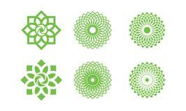 Insieme del logo della foglia della natura, logo dell'ambiente, progettazioni del modello di logo di ecologia, elemento di Lotus  royalty illustrazione gratis