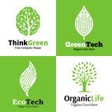 Insieme del logo, delle icone e dell'elemento ecologici di progettazione Immagini Stock Libere da Diritti