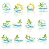 Insieme del logo di ecologia di colore Bio- segno di ecologia di colore Fotografie Stock Libere da Diritti