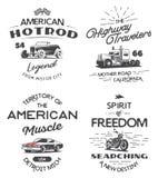 Insieme del logo di tipografia dell'automobile, del camion e del motociclo illustrazione vettoriale