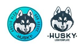 Insieme del logo e dell'emblema del cane del husky Immagine Stock Libera da Diritti