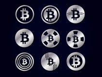 Insieme del logo grafico delle icone dell'argento di vettore per valuta cripto del bitcoin Fotografie Stock