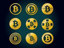 Insieme del logo grafico delle icone dell'oro di vettore per valuta cripto del bitcoin Immagini Stock Libere da Diritti
