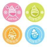Insieme del logo lineare di vettore, etichetta, di yogurt congelato Immagine Stock Libera da Diritti