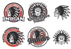 Insieme del logo rotondo indiano americano Immagini Stock Libere da Diritti
