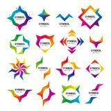 Insieme del logos astratto di vettore dei moduli Fotografie Stock Libere da Diritti