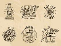 Insieme del logos del caffè elementi d'annata moderni per il menu del negozio Illustrazione di vettore raccolta della decorazione Immagine Stock Libera da Diritti