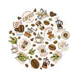 Insieme del logos del caffè elementi d'annata moderni per il menu del negozio Illustrazione di vettore raccolta della decorazione Immagini Stock