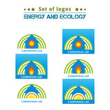 Insieme del logos circa energia ed ecologia, case di riscaldamento ENV, JPG Immagine Stock