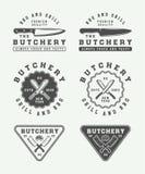Insieme del logos d'annata della carne, della bistecca o del bbq della macelleria, emblemi, distintivo illustrazione di stock