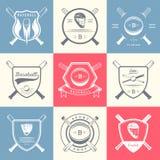 Insieme del logos d'annata e dei distintivi di baseball illustrazione di stock