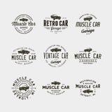 Insieme del logos d'annata del garage dell'automobile del muscolo Illustrazione di vettore illustrazione vettoriale