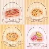 Insieme del logos del forno Cottura ed etichette delle pasticcerie Fotografia Stock Libera da Diritti