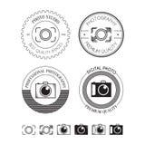 Insieme del logos della foto, delle etichette, dei distintivi e degli elementi di progettazione Fotografia Stock