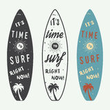 Insieme del logos, delle etichette, dei distintivi e degli elementi praticanti il surfing nello stile d'annata royalty illustrazione gratis
