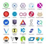 Insieme del logos di vettore del cryptocurrency popolare Fotografia Stock Libera da Diritti