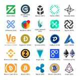 Insieme del logos di vettore del cryptocurrency popolare Fotografia Stock