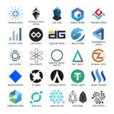Insieme del logos di vettore del cryptocurrency popolare Immagine Stock