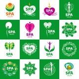 Insieme del logos di vettore per il salone della stazione termale Immagini Stock Libere da Diritti