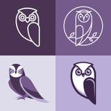 Insieme del logos e degli emblemi del gufo Immagine Stock Libera da Diritti