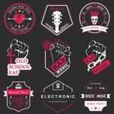 Insieme del logos e della musica dei distintivi Fotografia Stock
