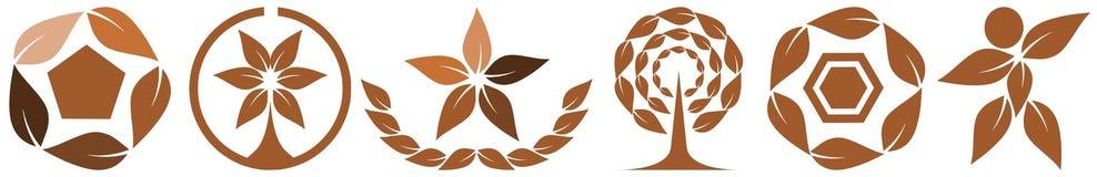 Insieme del logos fatto con le foglie Fotografie Stock