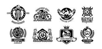 Insieme del logos, mountain bike Bicicletta, corridore, aquila, riparazione, servizio, in discesa, freeride Illustrazione di vett Fotografia Stock Libera da Diritti