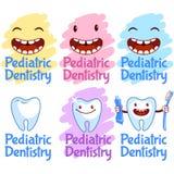 Insieme del logos per odontoiatria pediatrica Fotografie Stock