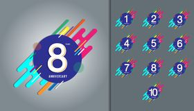 Insieme del logotype di anniversario Celebrazione di anniversario con colorf illustrazione vettoriale