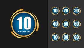 Insieme del logotype di anniversario Desi dell'emblema di celebrazione di anniversario illustrazione vettoriale