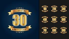 Insieme del logotype di anniversario Embl dorato di celebrazione di anniversario illustrazione di stock