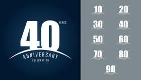 Insieme del logotype di anniversario Impiegati di progettazione di celebrazione di anniversario illustrazione di stock