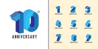 Insieme del logotype di anniversario Le icone variopinte moderne della celebrazione di anniversario progettano per il profilo azi royalty illustrazione gratis