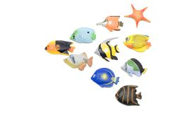 Insieme del magnete dei pesci Fotografia Stock Libera da Diritti