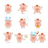 Insieme del maiale allegro divertente in cappello di Santa Claus, illustrazione vettoriale