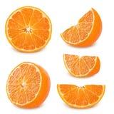 Insieme del mandarino isolato su un fondo bianco Fotografia Stock Libera da Diritti