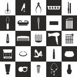 Insieme del manicure e di Pedicure Illustrazione di vettore di bellezza Fotografie Stock Libere da Diritti
