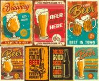 Insieme del manifesto della birra illustrazione di stock