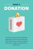 Insieme del manifesto di donazione e di carità Progettazione piana Per la carta dell'invito e del fondo modello della disposizion illustrazione di stock
