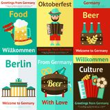 Insieme del manifesto di viaggio della Germania retro Immagini Stock Libere da Diritti