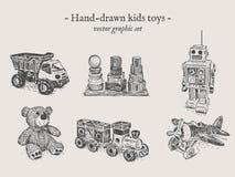 Insieme del a mano disegno dei giocattoli Immagini Stock Libere da Diritti
