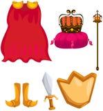 Insieme del mantello, della corona, della spada, del chield e dello scettro illustrazione di stock