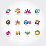 Insieme del marchio e delle icone Immagini Stock Libere da Diritti