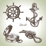 Insieme del mare degli elementi nautici di disegno Fotografia Stock Libera da Diritti