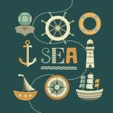 Insieme del marinaio delle icone Fotografia Stock Libera da Diritti