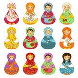 Insieme del matrioshka russo isolato delle bambole Fotografia Stock