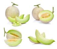 Insieme del melone verde del cantalupo con la fetta e dei cubi isolati Immagini Stock Libere da Diritti