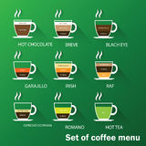 Insieme del menu del caffè Fotografie Stock Libere da Diritti